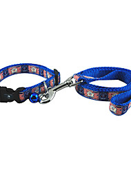 Cool Bear Pattern Collar with Little Bell and Leash for Dogs (Assorted Color)