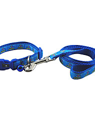 Little Boat Pattern Collar with Little Bell and Leash for Dogs (Assorted Color)