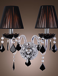 Crystal Wall Light with 2 Lights in Fabric Shade