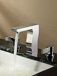 Sprinkle® by Lightinthebox - Chrome Finish Widespread Two Handles Solid Brass Bathroom Sink Faucet