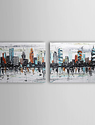 Hand-painted Landscape Oil Painting with Stretched Frame Set of 2