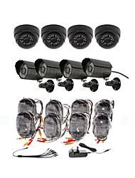 Day/Night Security Camera 8 Pack(4 Waterproof Outdoor Cameras & 4 Indoor Cameras)