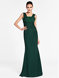 TS Couture® Formal Evening / Military Ball Dress - Elegant Plus Size / Petite Sheath / Column Square / Straps Floor-length Chiffon with Beading /