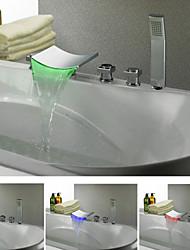Chrome Couleur contemporain Changement LED Robinet de baignoire cascade