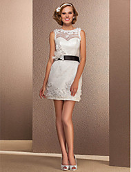 Lanting Bride Sheath/Column Petite / Plus Sizes Wedding Dress-Short/Mini Bateau Lace
