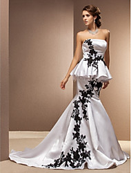Lan Ting Trumpet/Mermaid Plus Sizes Wedding Dress - White Chapel Train Strapless Satin