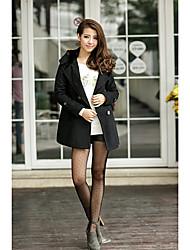 FREELI Simplicity Black Double Breast Tweed Coat