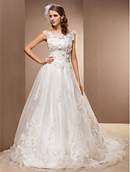 LAN TING BRIDE A-line Wedding Dress - Classic & Timeless Vintage Inspired Chapel Train Scoop Lace Organza withAppliques Beading Flower