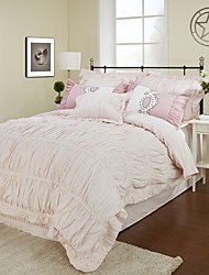 einfach&opulence® 3-teilige 250tc plissierten Perkal Baumwolle Bettbezug-Set