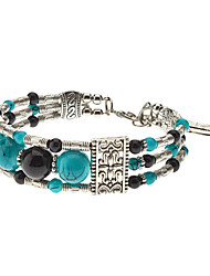 Folk Style 3 Beads Totem Pattern Silver Plating Bracelace