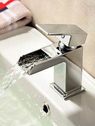 Contemporary Waterfall Brass Bathroom Sink Faucet - Chrome Finish