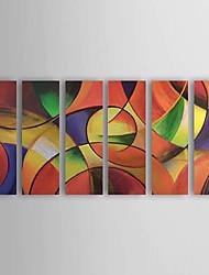 dipinto a mano olio su tela astratta con telaio allungato - set di 6