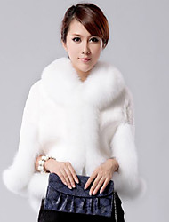 3/4 Sleeve Fox Fur Shawl Collar Rex Rabbit Fur Casual/Office Jacket (More Colors)