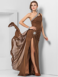 TS Couture® Formal Evening / Military Ball Dress - Open Back Plus Size / Petite Sheath / Column One Shoulder Floor-length Chiffon with Beading /
