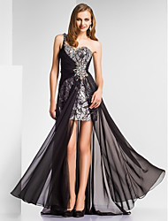 Formal Evening / Military Ball Dress - Open Back Sheath / Column One Shoulder / Sweetheart Floor-length Chiffon / Sequined withBeading /