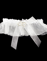 Cetim delicado com Garter doce Corações casamento