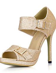 Elegantes espumosos brillo Sandalias de tacón de aguja con hebilla de fiesta / zapatos de noche