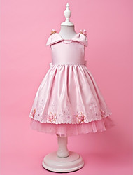 A-ligne | Princess Jewel thé longueur satin tulle et mignon Dress Flower Girl