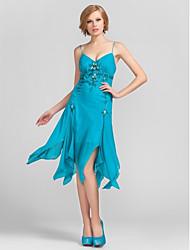 Cocktail Party / Homecoming Dress - Pool Plus Sizes / Petite Sheath/Column V-neck / Spaghetti Straps Knee-length Chiffon