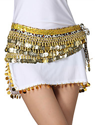 Performance Dancewear Velvet Leopard Printed with Coins Belly Dance Belts For Ladies