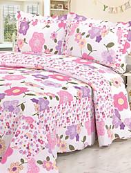 3 peças elegante floral de algodão lavado conjunto quilt