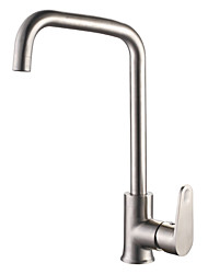 Brushed Finish Contemporary Style Centerset Stainless Steel Kitchen Faucet