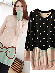 LELE Bow Tie Loose Long Sweater