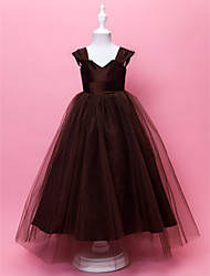 A-line Ball Gown Floor-length Flower Girl Dress - Taffeta Tulle V-neck Straps with Draping Side Draping