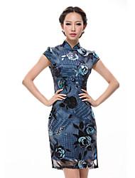 De las mujeres Tallas Grandes Vestido Vintage Floral Mini Escote Chino