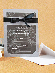 Simple Style Wedding Invitation With Ribbon (Set of 50)