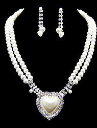 Lovely Imitation Pearl With Rhinestone Women's Jewelry Set Including Necklace,Earrings