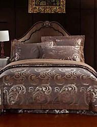 4-Piece Coffee Floral Jacquard Cotton Duvet Cover Set