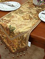 Traditional Polyester Print Gold Floral Table Runners