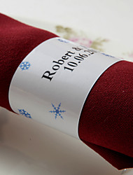 Personalized Paper Napkin Ring - Blue Snow (Set of 50)