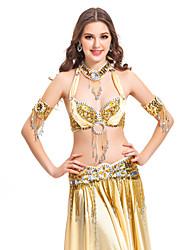 5 pezzi in poliestere dancewear con bordatura prestazioni abiti danza del ventre per le signore colori più