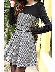 Women's Work Skater Dress,Patchwork Round Neck