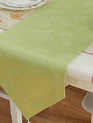 Classic Polyester Jacquard Green Floral Table Runners