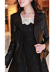 Fashion Long Sleeve Turn-down Collar PU Casual/Party Jacket
