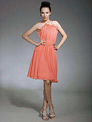 Lanting Chiffon Sheath/ Column Halter Knee-length Bridesmaid Dress