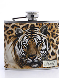 Gift Groomsman Personalized Tiger Design 6-oz Flask