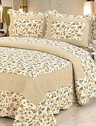 3 peças bege lavado algodão floral conjunto quilt