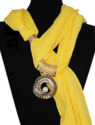 Polyester cotton Circle Pattern Pearl Pendant scarf necklace
