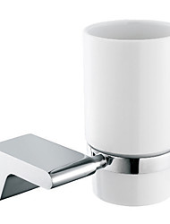 Chrome Finish Contemporary Style Brass Toothbrush Holder