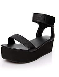 sandalias de tacón de plataforma de cuero con cinta mágica de zapatos de fiesta / noche (más colores)