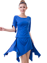 Dancewear Lovely Half Sleeve Viscose Latin Dance Outfits Top and Skirt For Ladies More Colors
