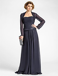 Lanting A-line Plus Sizes / Petite Mother of the Bride Dress - Dark Navy Floor-length Long Sleeve Chiffon