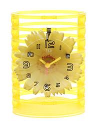"""5 """"Style de chrysanthème Crayon Vase Analog Clock Alarm Quartz (1xButton batterie)"""