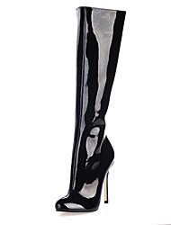 Charol tacón de aguja de rodilla Botas Altas con cremallera fiesta / zapatos de noche