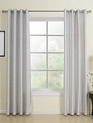 (Two Panels) Classic Grey Solid Energy Saving Curtain