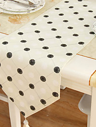 Classique Polyester Beige Runners broderie florale de table